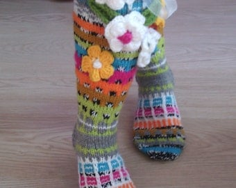 Over the knee Socks, Women's knitted High Socks, Bohemian worm Socks, Leg Wormers,  Ladies Handmade wool Socks, Model: VERONICA