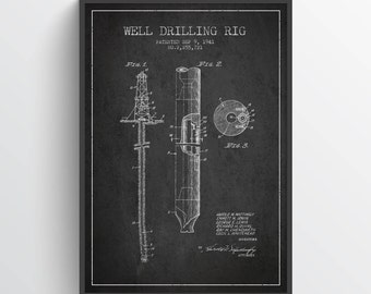 1941 Well Drilling Rig Patent Wall Art Poster, Oil Drilling Poster. Texas Art, Home Decor, Gift Idea, PFEN03P