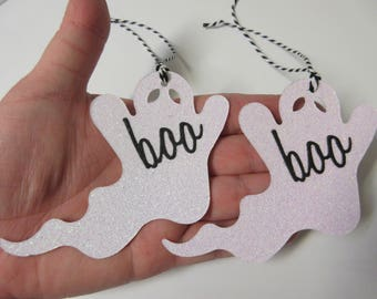 Set Of 6 Glitter Ghost Gift Tags-Ghost Tags-Halloween Tags-Halloween Decor