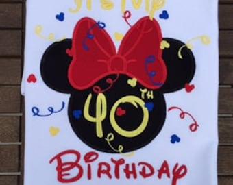 Birthday Minnie Head Birthday Mickey Head Disney World Applique Happy Birthday Shirt/ Mickey Shirt/ Disney World Shirt/ Mickey Ears Shirt