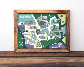 Illustrated Map of Oxford, Oxford Map Print, Oxford Illustration, Illustrated Map, Oxford Print, Oxford Art, Maps, British Art, Oxford Gifts