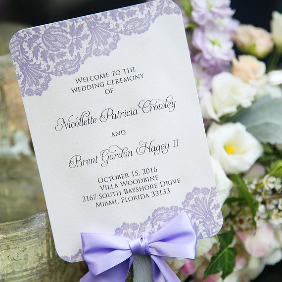 Fan Wedding Program with Bow - Ivory and Lavender Lace with Silver Painted Stick and Lavender Ribbon - Custom Wording, Colors, & Fonts