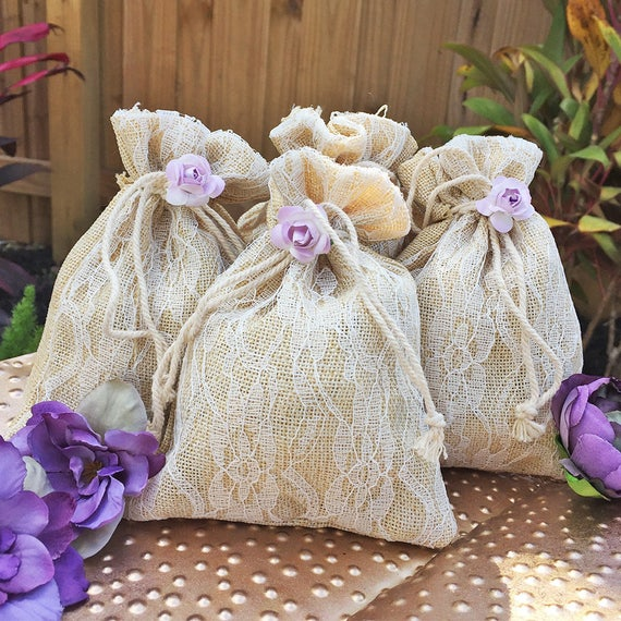 Burlap and Lace Favor Bags - Wedding Favor Bags - Party Favor Bags - Small Gift Bags