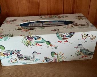 Rectangular Tissue Box Decoupaged In Cath Kidston's Ducks - Tissues Included