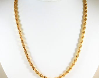 Handsome 4mm, 20 inch, Diamond-Cut 14k Gold Rope Chain