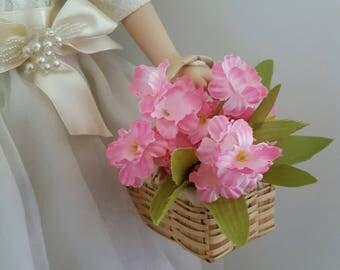 Wicker Basket for your 1:4 scale doll/ american girl size/ 18 inch doll accessory/ wicker flower basket/ miniature basket/ doll basket