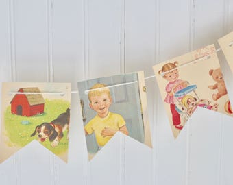 Vintage Children Playing Paper Bunting Banner Pennant Garland