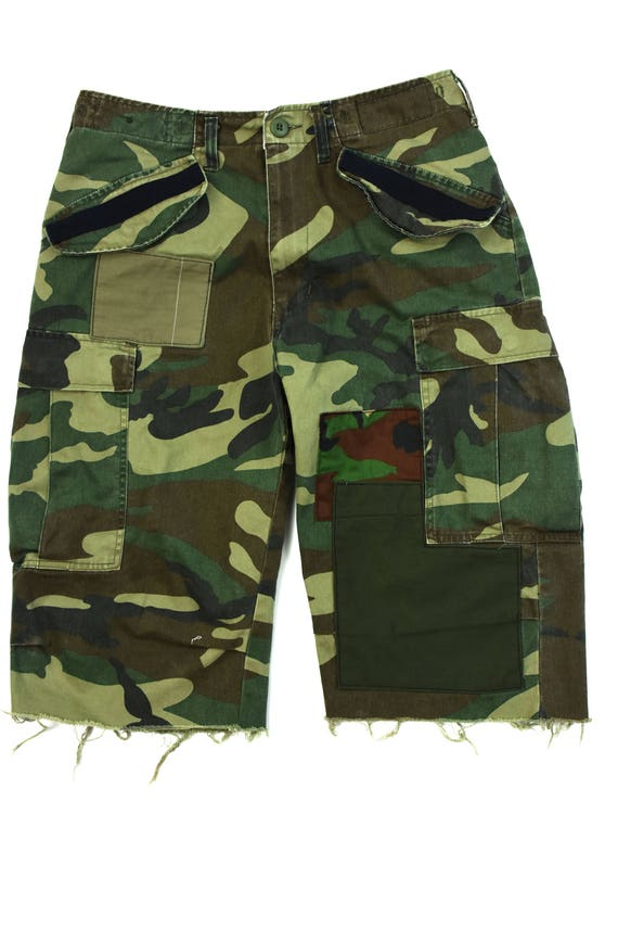 raw edge cut washed fatigue pacth work m-65 cargo shorts