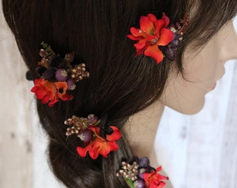 Flower Hair Pins - Sun set