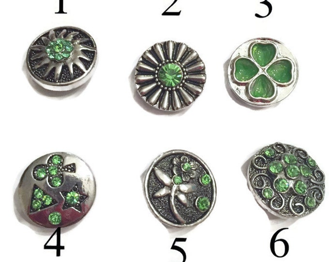 Snap Jewelry-Snap Buttons- Snap Charms- Green Snap Charms-Add to Snap Necklaces and Snap Bracelets- 18mm Snaps- Fits All Ginger Snap Jewelry
