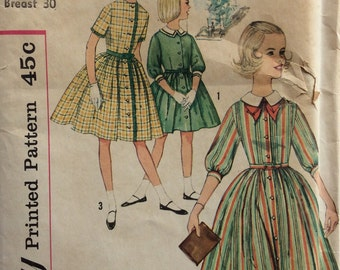 Simplicity 4087 girls dress  Designed for chubbies  Size 8 1/2  breast 30 vintage 1960's sewing pattern