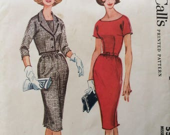 McCall's 5507 vintage 1960's misses wiggle dress & jacket sewing pattern size 16 bust 36  Uncut  Factory folds
