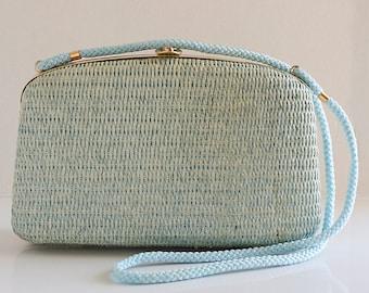 Vintage Blue Basket Purse