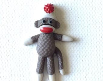 Sock Monkey Pin, Brooch, Cute Monkey, Retro Toy, Men's Tie Tack, Stocking Stuffer