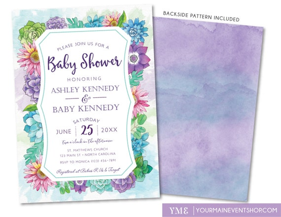 Baby Shower Invitation • Spring Summer Watercolor Flower Baby Shower Invite • It's a Girl Floral Printable