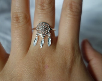Dream Catcher Silver Adjustable Ring