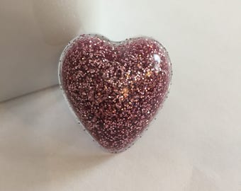 Large Pink Glitter Resin Heart Ring, Fashion Ring