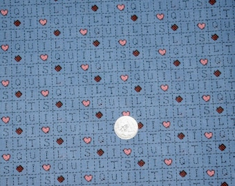 Vintage Country Blue Fabric,  Mauve Fabric, Country Blue Fabric, Fabric, Quilting Fabric, Fabric with Hearts, Blue Fabric