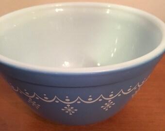 Pyrex blue snowflake bowl