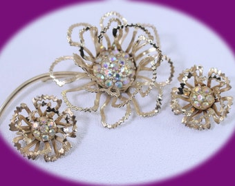 Vintage Brooch Set Sarah Coventry Aurora Borealis Flower Brooch And Earrings Vntage Jewelry Costome Jewelry Bridesmaid Gift