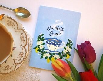 Get Well Tea Card - Get Well Card - Greeting Card