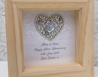 25th Silver gift, 25th anniversary present, 25th wedding anniversary gift,25th Silver, personalised framed gift,Silver anniversary, handmade