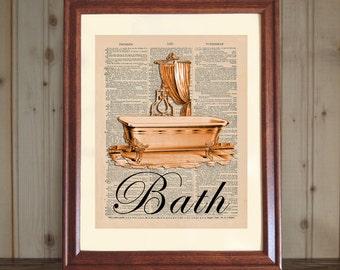 Bath Dictionary Print, Bathroom Wall Art, Bathroom Decor, Bathtub Print, Vintage Bathroom Decor, Antique Clawfoot Tub Print on Canvas Panel