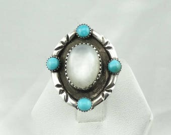 "Hallmarked ""ZAP"" Vintage Southwest Native American Turquoise and Mother of Pearl Sterling Silver Ring  #MOPTRQ-SR4"