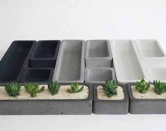 Concrete Succulent Planter Set-- [Medium], rectangular