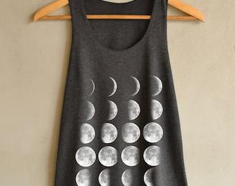 Moon Phase Shirt Moon Shirt Moon Tank Top Dark Gray Shirts Womens