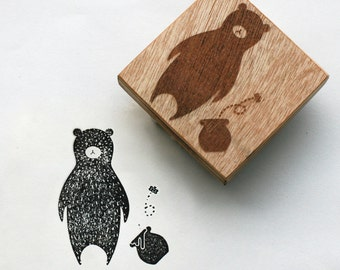 "Animal Rubber Stamp of bear,  mounted on a wooden block, Original design 2""x2"""