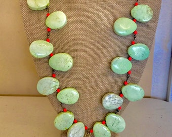 Mint Green Stone Bead Necklace with Pointed Double-Ended Crescent Shaped Natural Ox Bone Pendant
