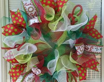 SALE Christmas Wreath, Handmade Wreath, Joy Wreath, Holiday Wreath, Seasons Wreath, Deco Mesh Wreath, Ribbon Wreath