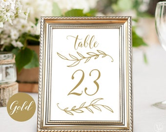 Gold Wedding Table Numbers 1–40, Reserved and Head Table Signs Included, Two Sizes 5x7 and 4x6, TN09, VW01GOLD
