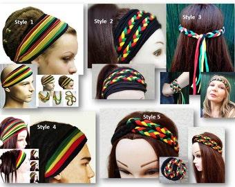 Rasta Headband, Bob Marley Headband, Jamaica Headband, Rastafarian Headband, Reggae Headband, Hippie Headband, Boho, One Love Headband,