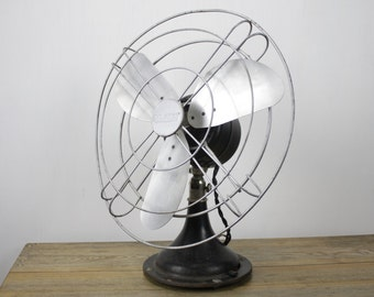 Vintage Desk Fan - Gilbert - Black - Variable Speed - Oscillating - Late 1930's - Early 1940's  Home Decor - Refurbished