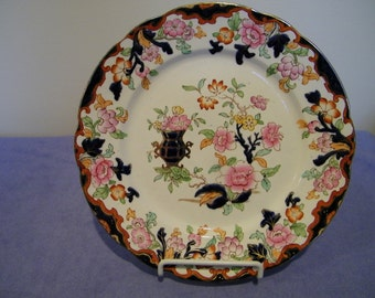 Antique Ridgway England Simlay Floral Oriental Plate w/Cobalt Blue
