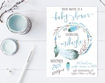Baby Shower Invitation, Boho Baby Shower Invitations, Boy Baby Shower Invite, Boho Boy Baby Shower Invitation, Vintage Baby Shower [541]