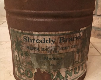 "Huge Vintage Shreddy Brand Cocoanut tin 10 lb size 10.5"" X 11"""