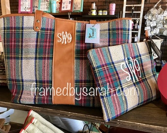 Monogrammed Sanded Plaid Tote and Cosmetic Bag