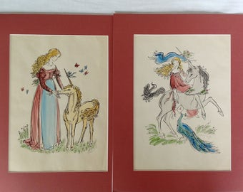 Pair of Pencil Signed Hand Colored Prints by Illustrator Barbara McGee