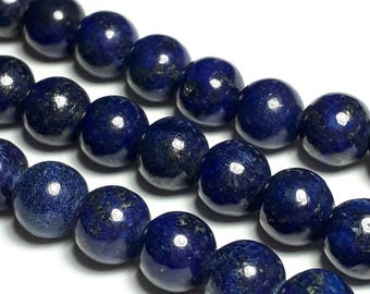 6pcs Lapis Lazuli Beads (Grade B) - Natural Lapis Lazuli - Blue Gemstone Beads - Natural Gemstones - 8mm Beads - B34132