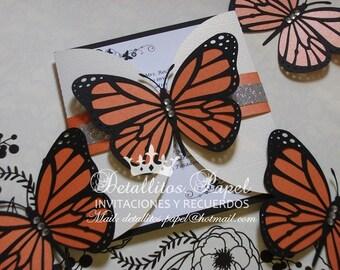 Quinceañera Invitation, Monarch Butterfly Invitation, Butterfly invitations, Sweet 16 invitation, Butterfly Wedding invitation