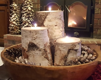 Birch Candle Holder-Real Birch-Large Birch Candle Holders-NBJ700-Wedding Table-Wooden Candle