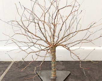 Copper, Brass, and Steel Wire Tree Sculpture on a Solid Steel Base, Made in Lincoln, Nebraska.