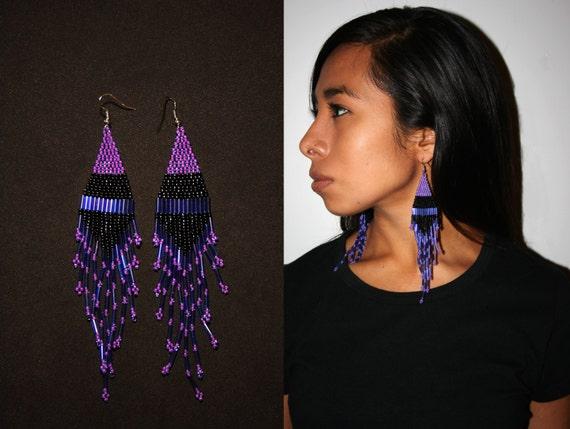 Gorgeous Indigo Tribal Earrings, Fuchsia Beaded Earrings, Native American Beaded Earrings, Long Dangling Earrings, Elegant Boho Earrings