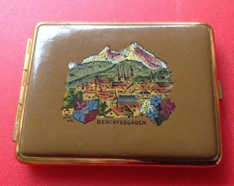 Vintage German Cigarette Case. Era 70's. Leather. Featuring Berchtesgaden . Souvenir.