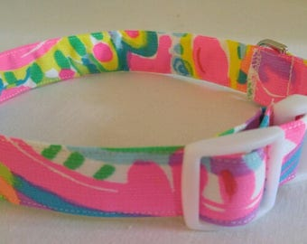 Dog Collar in Lilly Pulitzer Come Out of Your Shell fabric