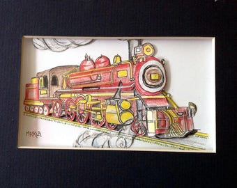 3-D Paper-Cut Greeting Card:  Steam Engine