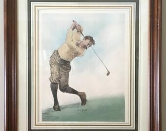 Vintage A. B. Frost Golf Print, Golfer Swinging Framed with Matt M783-1